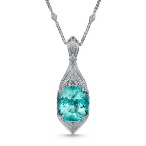 Paraiba Tourmaline Necklace with D Flawless Diamonds set in 18K White Gold