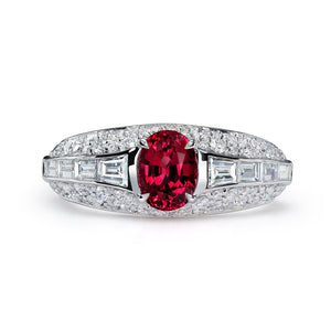 Noble Burmese Spinel Ring with D Flawless Diamonds set in 18K White Gold