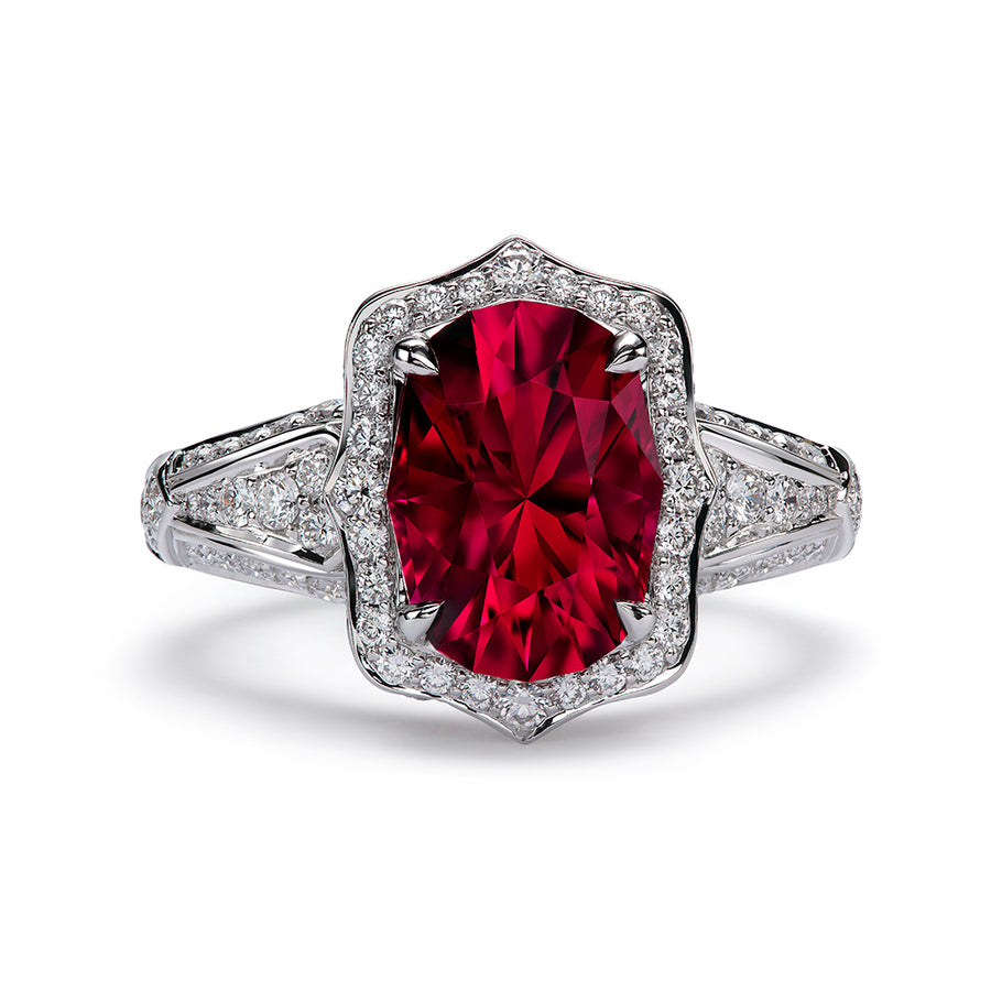 Rubellite Ring with D Flawless Diamonds 18K White Gold