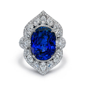 Unheated Royal Blue Ceylon Sapphire Ring with D Flawless Diamonds set in Platinum