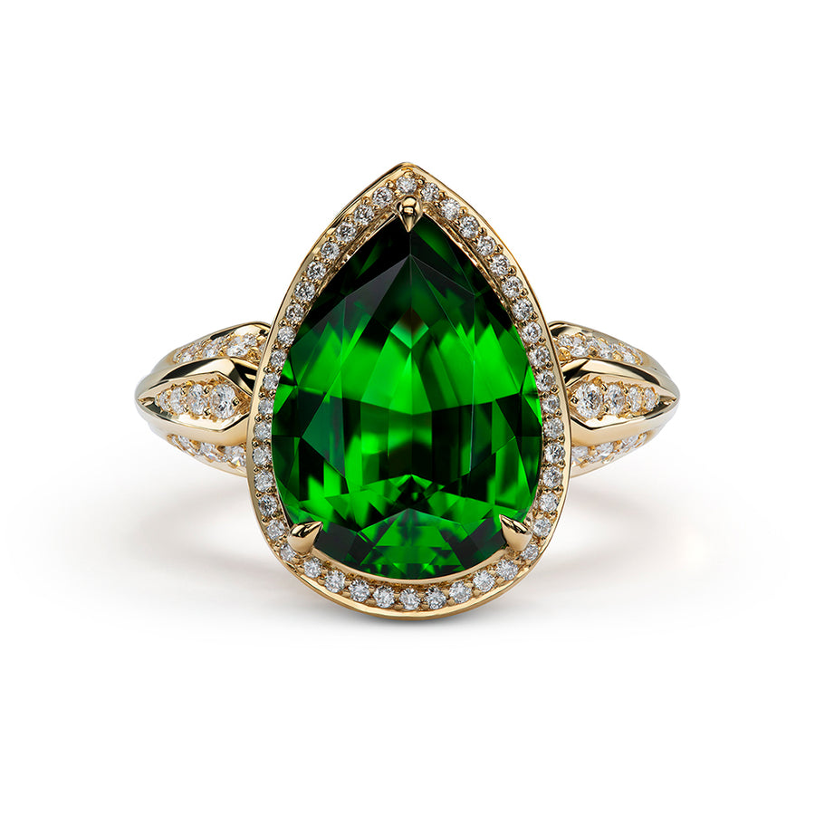 Chrome Tourmaline Ring with D Flawless Diamonds set in 18K Yellow Gold