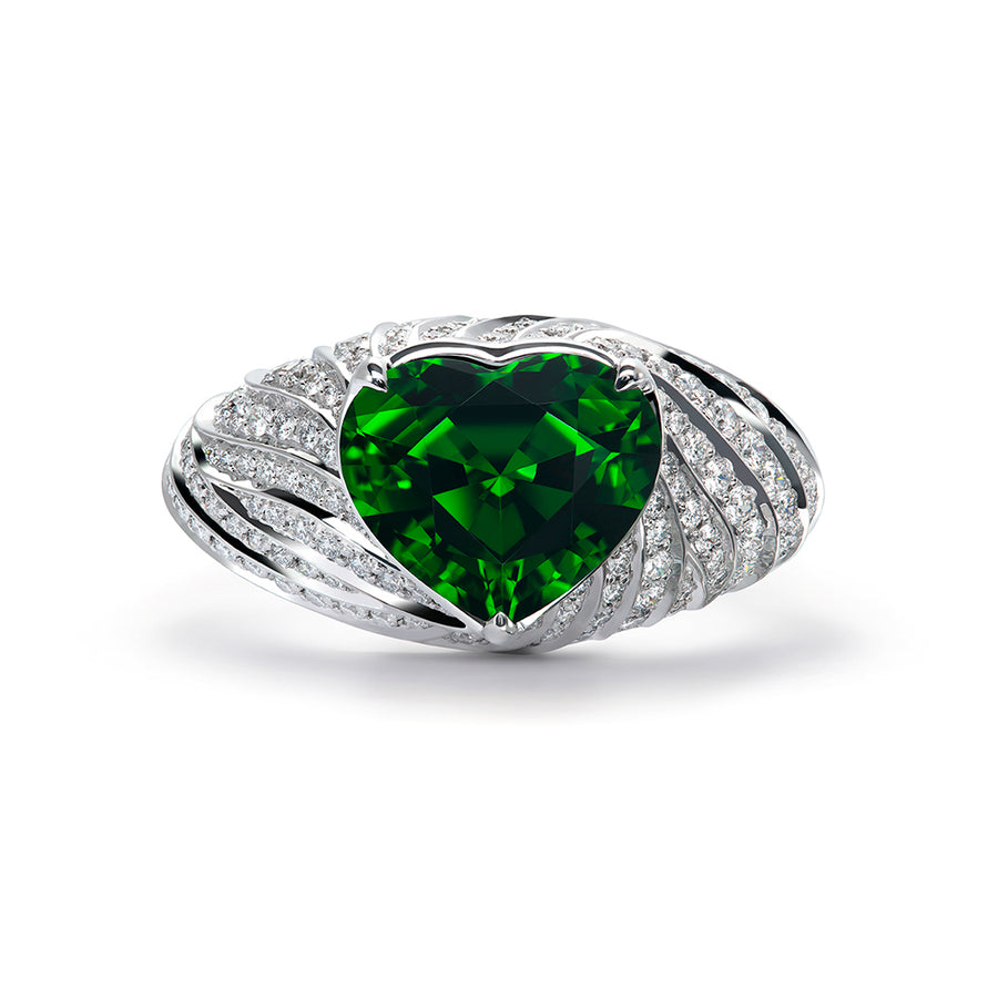 Chrome Tourmaline Ring with D Flawless Diamonds set in 18K White Gold
