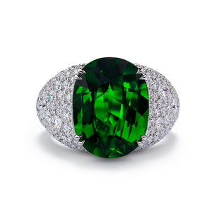 Tsavorite Ring with D Flawless Diamonds set in 18K White Gold