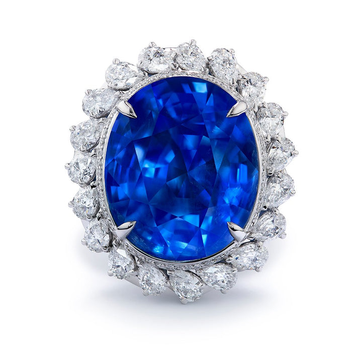 Unheated Burmese Blue Sapphire Ring with D Flawless Diamonds set in 18K White Gold