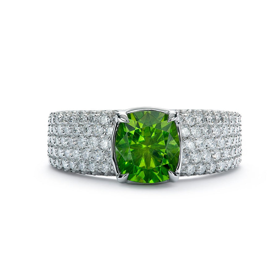 Horsetail Demantoid Ring with D Flawless Diamonds set in 18K White Gold