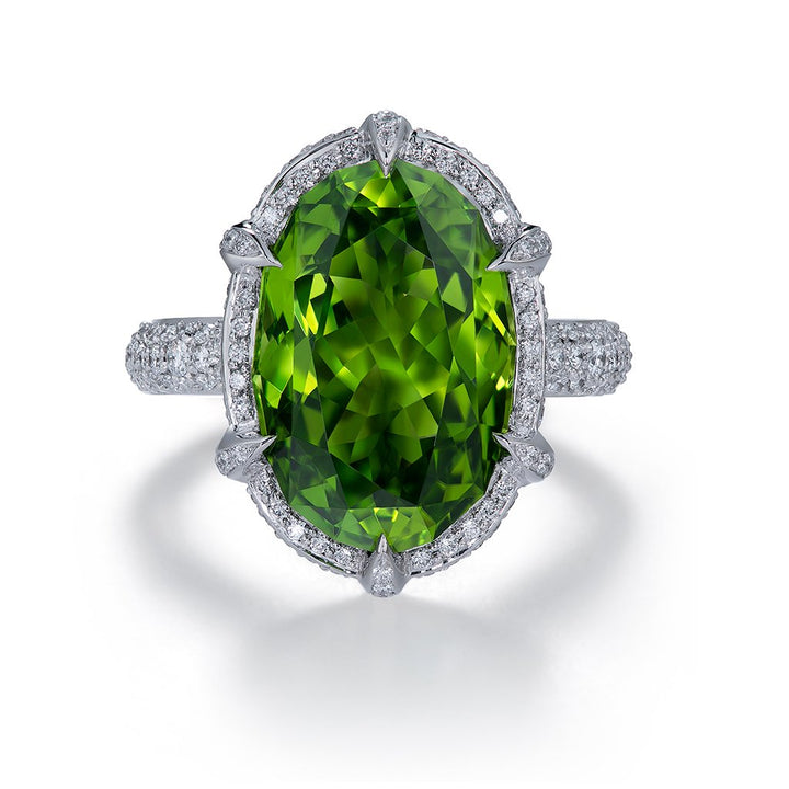 Zabargad Peridot Ring with D Flawless Diamonds set in 18K White Gold