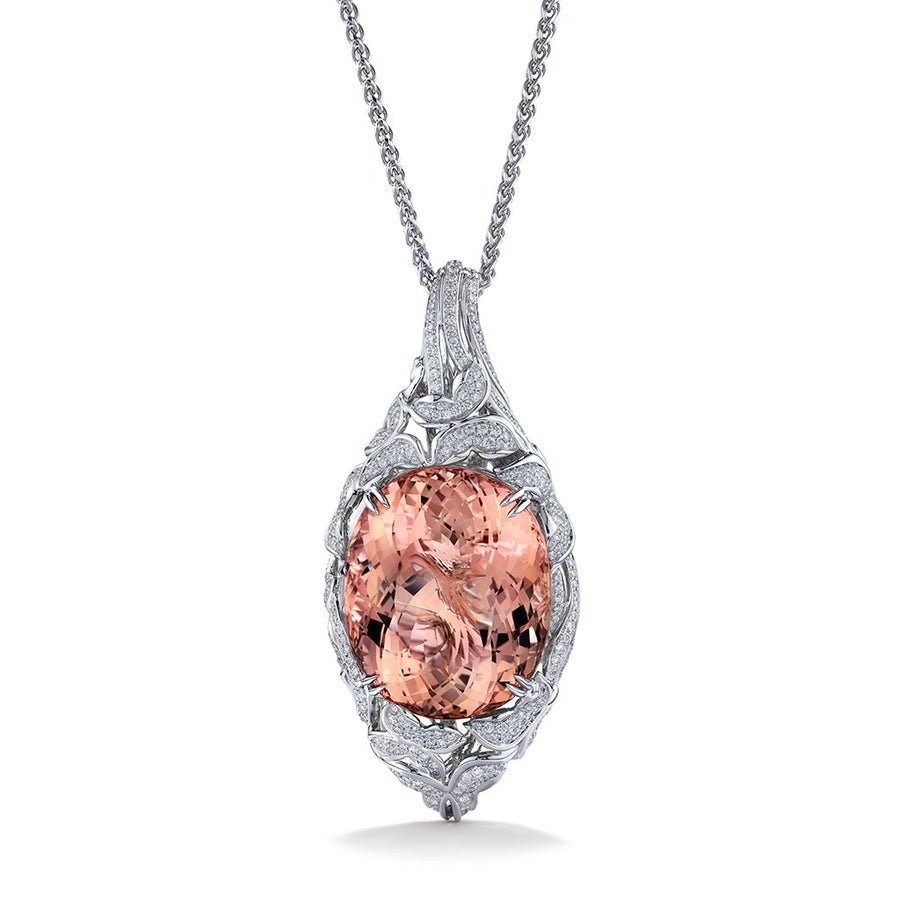 Morganite Necklace with D Flawless Diamonds set in 18K White Gold