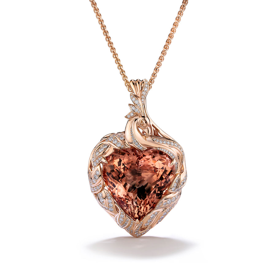 Morganite Necklace with D Flawless Diamonds set in 18K Rose Gold
