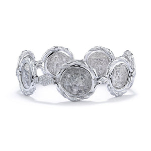 Ancient Roman Coin Bracelet with D Flawless Diamonds set in 18K White Gold