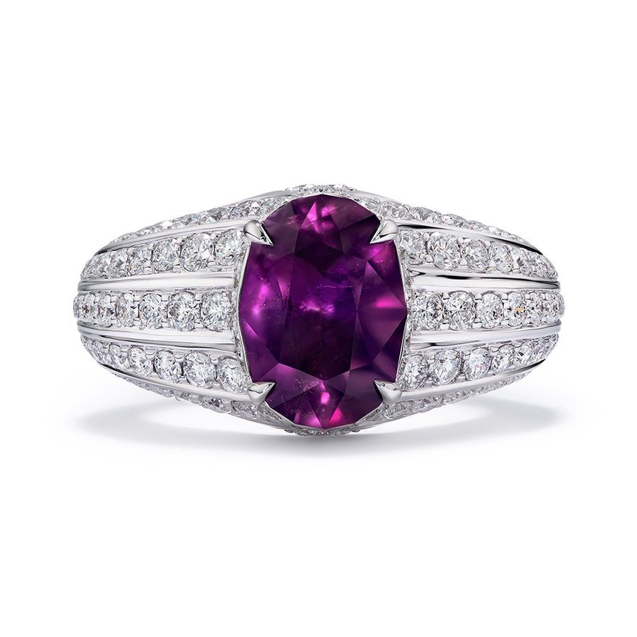 Unheated Kashmir Ruby with D Flawless Diamonds 18K Gold Ring