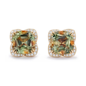 Zultanite Earrings with D Flawless Diamonds set in 18K Yellow Gold