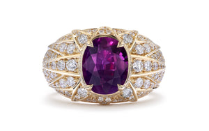 Unheated Kashmir Sapphire Ring with D Flawless Diamonds set in 18K Yellow Gold