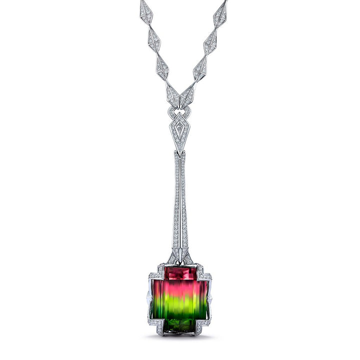 Neon Bi Color Tourmaline Necklace with D Flawless Diamonds set in 18K White Gold