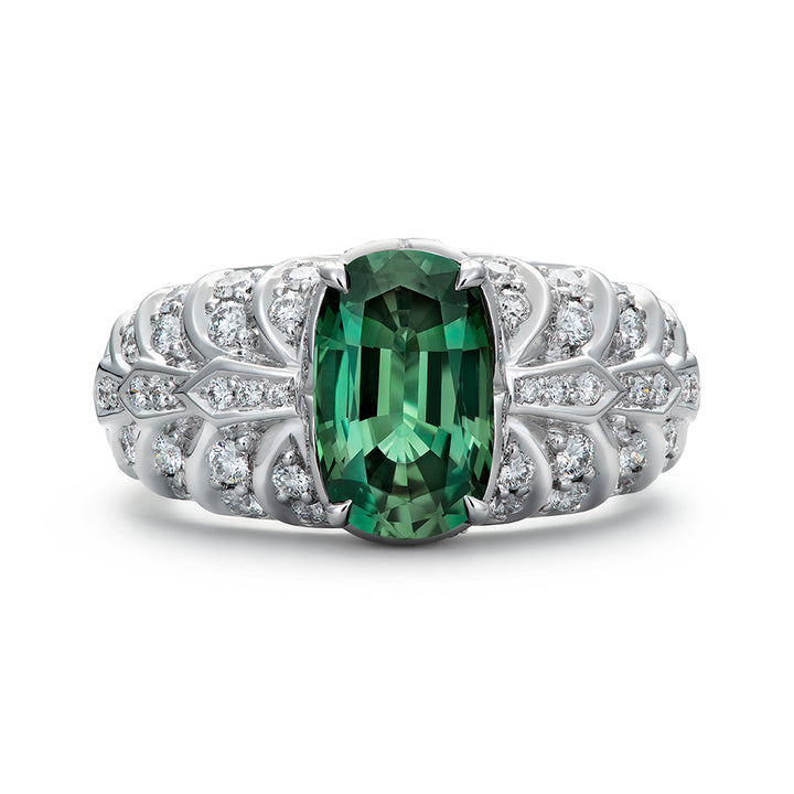 Brazilian Alexandrite Ring with D Flawless Diamonds set in 18K White Gold