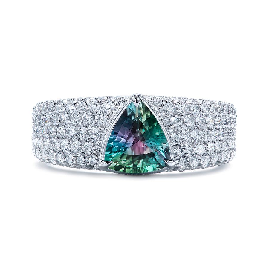 Russian Alexandrite Ring with D Flawless Diamonds set in Platinum