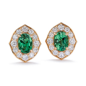 Alexandrite Earrings with D Flawless Diamonds set in 18K Yellow Gold