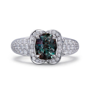 Alexandrite Ring with D Flawless Diamonds set in 18K White Gold