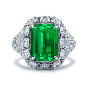 No Oil Antique Muzo Colombian Emerald Ring with D Flawless Diamonds set in 18K White Gold