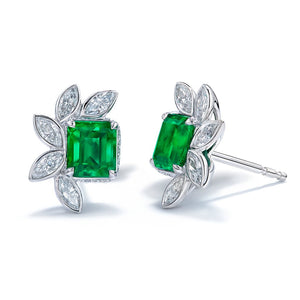 No Oil Antique Muzo Colombian Emerald Earrings with D Flawless Diamonds set in Platinum