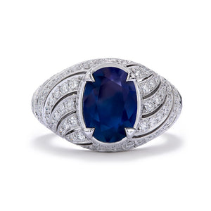 Unheated Kashmir Sapphire Ring with D Flawless Diamonds set in 18K White Gold