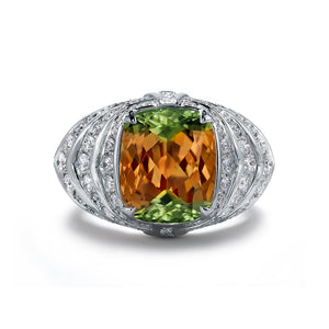 Zultanite Ring with D Flawless Diamonds set in 18K White Gold