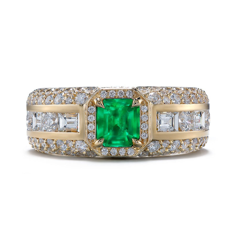 No Oil Antique Muzo Colombian Emerald Ring with D Flawless Diamonds set in 18K Yellow Gold