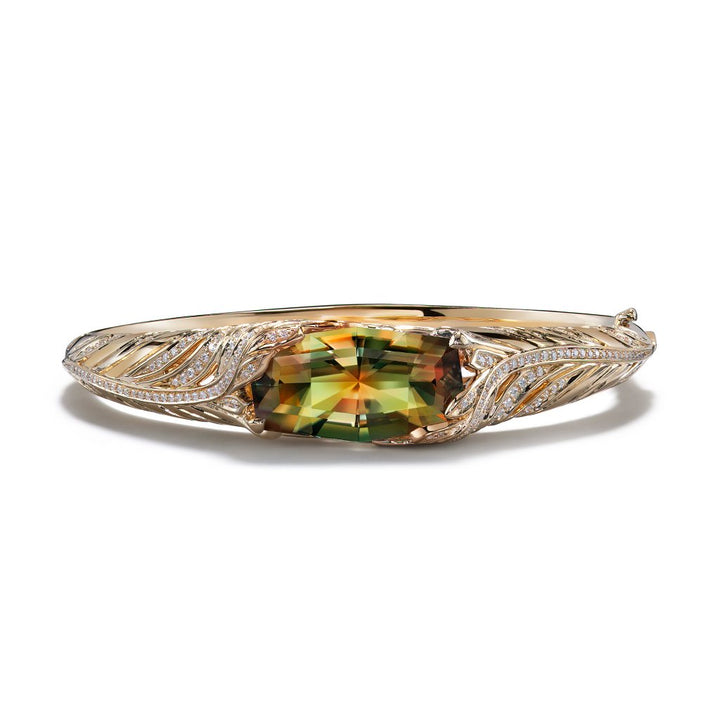 Zultanite Bangle with D Flawless Diamonds set in 18K Yellow Gold