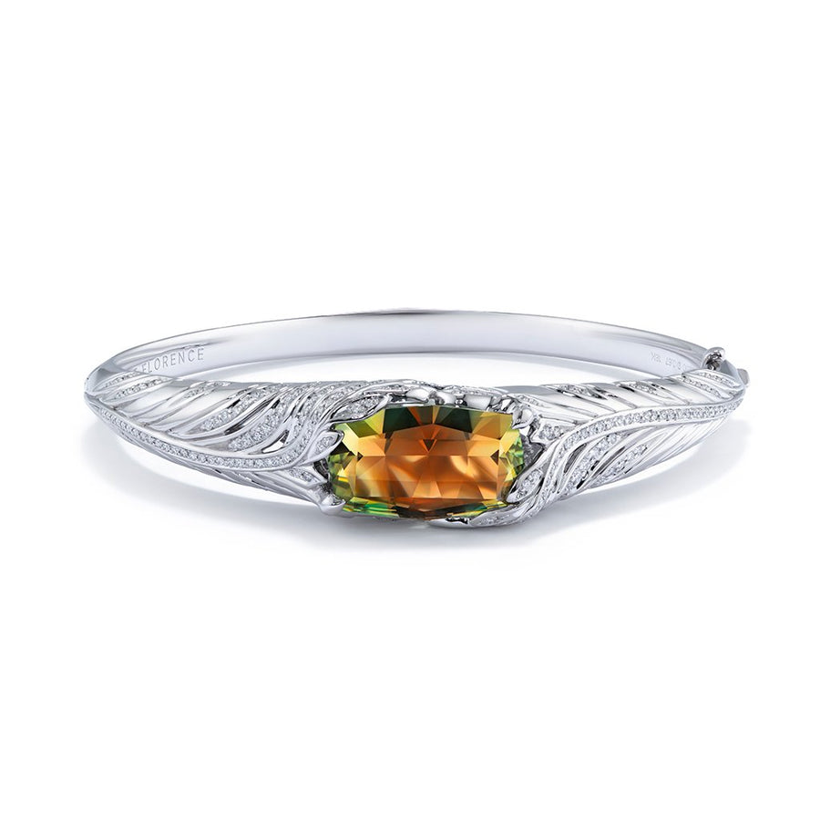 Zultanite Bangle with D Flawless Diamonds set in 18K White Gold