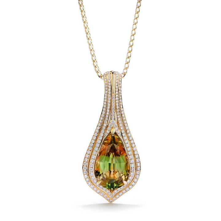 Zultanite Necklace with D Flawless Diamonds set in 18K Yellow Gold