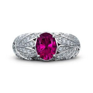 Magenta Garnet Ring with D Flawless Diamonds set in 18K White Gold