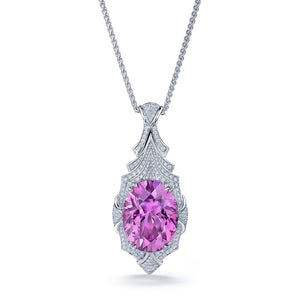 Patroke Kunzite Necklace with D Flawless Diamonds set in 18K White Gold