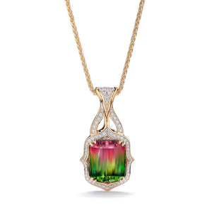 Neon Bi Color Tourmaline Necklace with D Flawless Diamonds set in 18K Yellow Gold