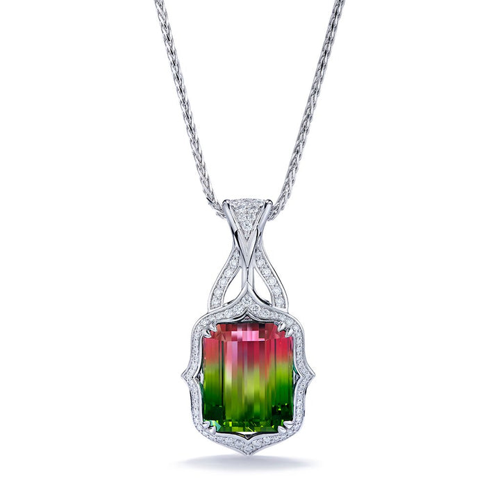 Neon Bi Color Titanium Tourmaline Necklace with D Flawless Diamonds set in 18K White Gold
