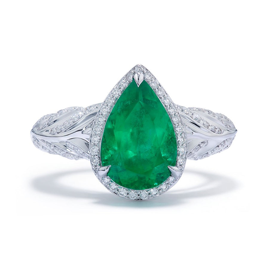 No Oil Muzo Colombian Emerald Ring with D Flawless Diamonds set in 18K White Gold