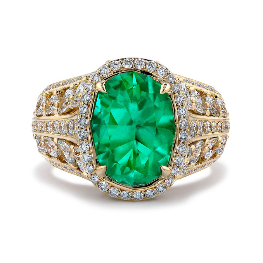No Oil Muzo Colombian Emerald Ring with D Flawless Diamonds set in 18K Yellow Gold