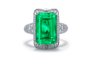 Muzo Colombian Emerald Ring with D Flawless Diamonds set in Platinum