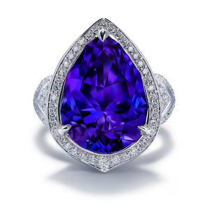 Tanzanite Ring with D Flawless Diamonds setin 18K White Gold