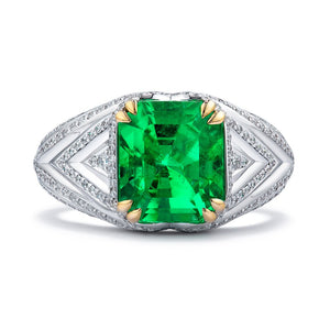 No Oil Muzo Colombian Emerald Ring with D Flawless Diamonds set in 18K White Gold with 22K Prong