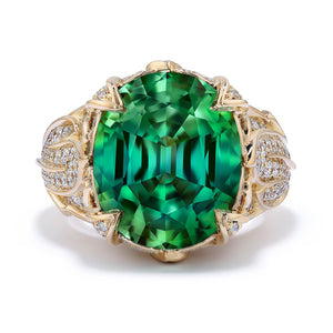 Neon Titanium Tourmaline Ring with D Flawless Diamonds set in 18K Yellow Gold