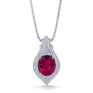 Neon Titanium Tourmaline Necklace with D Flawless Diamonds set in 18K White Gold