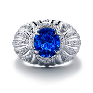 Unheated Didy Blue Sapphire Ring with D Flawless Diamonds set in 18K White Gold