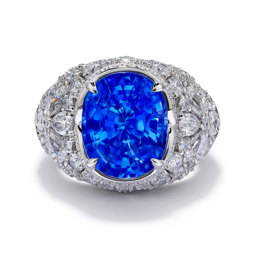 Unheated Didy Blue Sapphire Ring with D Flawless Diamonds set in Platinum