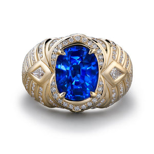 Unheated Didy Blue Sapphire Ring with D Flawless Diamonds set in 18K Yellow Gold