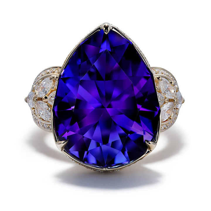 Tanzanite Ring with D Flawless Diamonds setin 18K Yellow Gold
