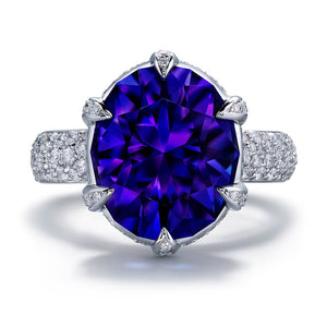 Tanzanite Ring with D Flawless Diamonds set in 18K White Gold