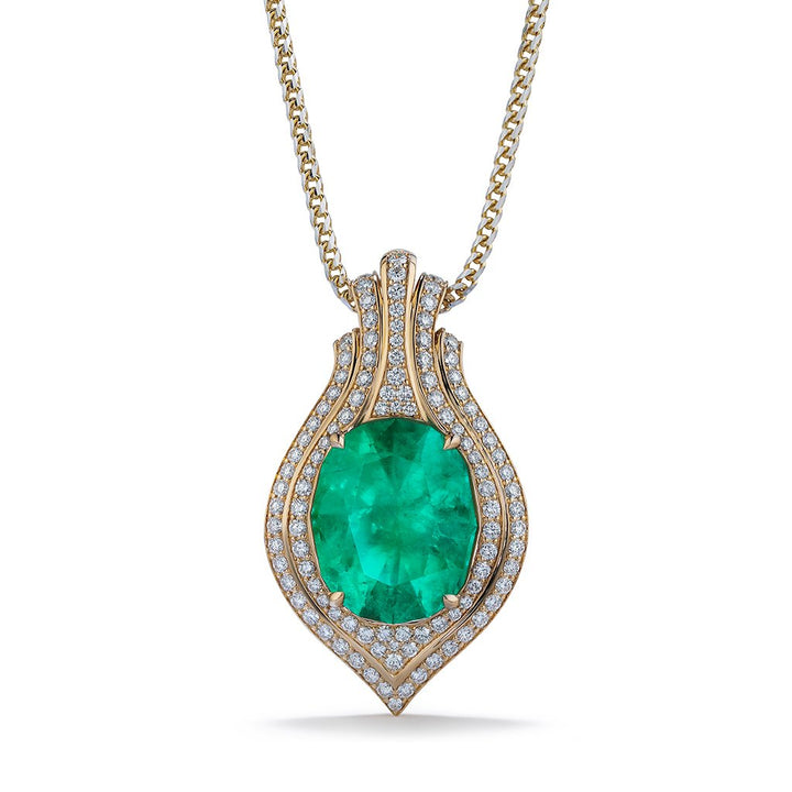 Colombian Emerald Necklace with D Flawless Diamonds set in 18K Yellow Gold