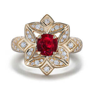 Mogok Pigeon Blood Unheated Ruby Ring with D Flawless Diamonds set in 18K Yellow Gold
