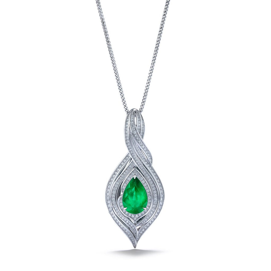 No Oil Muzo Colombian Emerald Necklace  with D Flawless Diamonds set in 18K White Gold