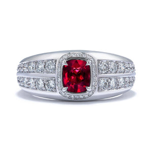 Mogok Pigeon Blood Unheated Ruby Ring with D Flawless Diamonds set in 18K White Gold