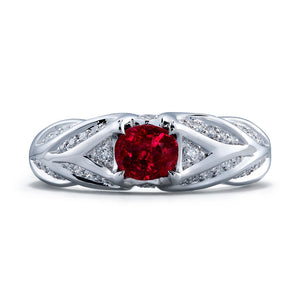 Mogok Pigeon Blood Unheated Ruby Ring with D Flawless Diamonds set in Platinum